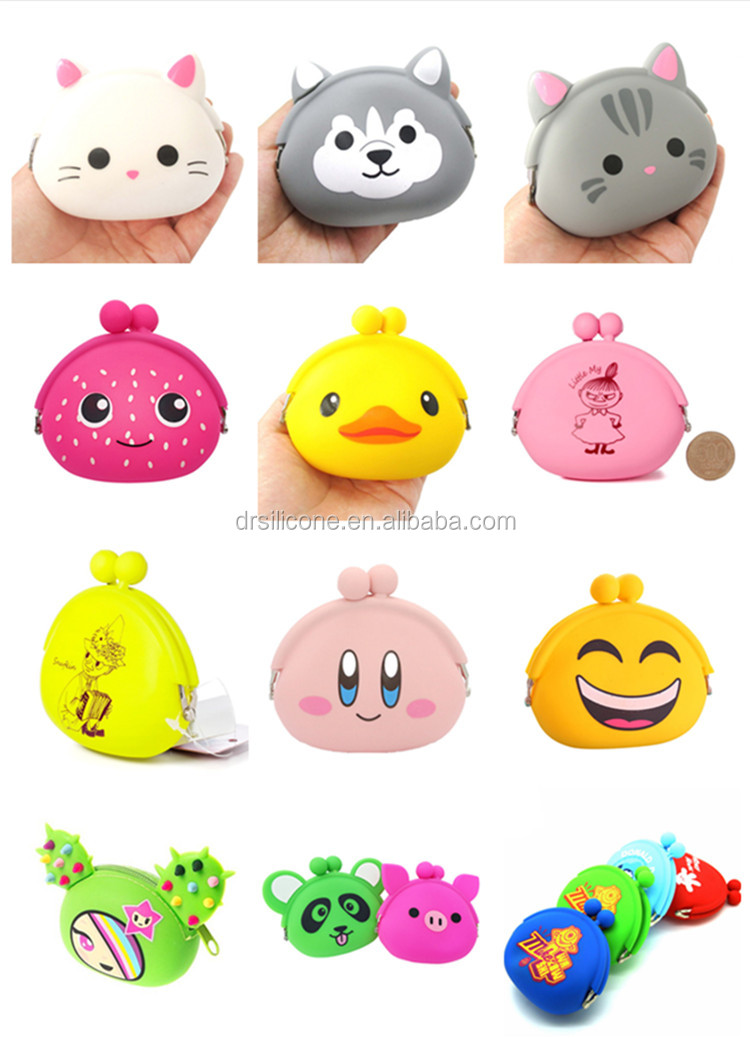 Wholesale China trade novelty fashion animals waterproof zipper multi-functional silicone coin purse,cartoon silicon coin wallet