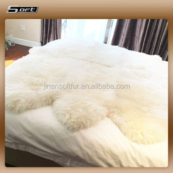 White Shaggy Bed Sheared Sheepskin Rugs
