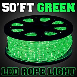 GotHobby 50'ft Green Color 2-wire LED Rope Light Home Outdoor Boat Christmas Lighting 110v
