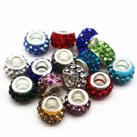 12mm Big Hole Charms Beads With Rhinestone DIY Jewelry Making Beads Fits Charms Bracelets Necklaces