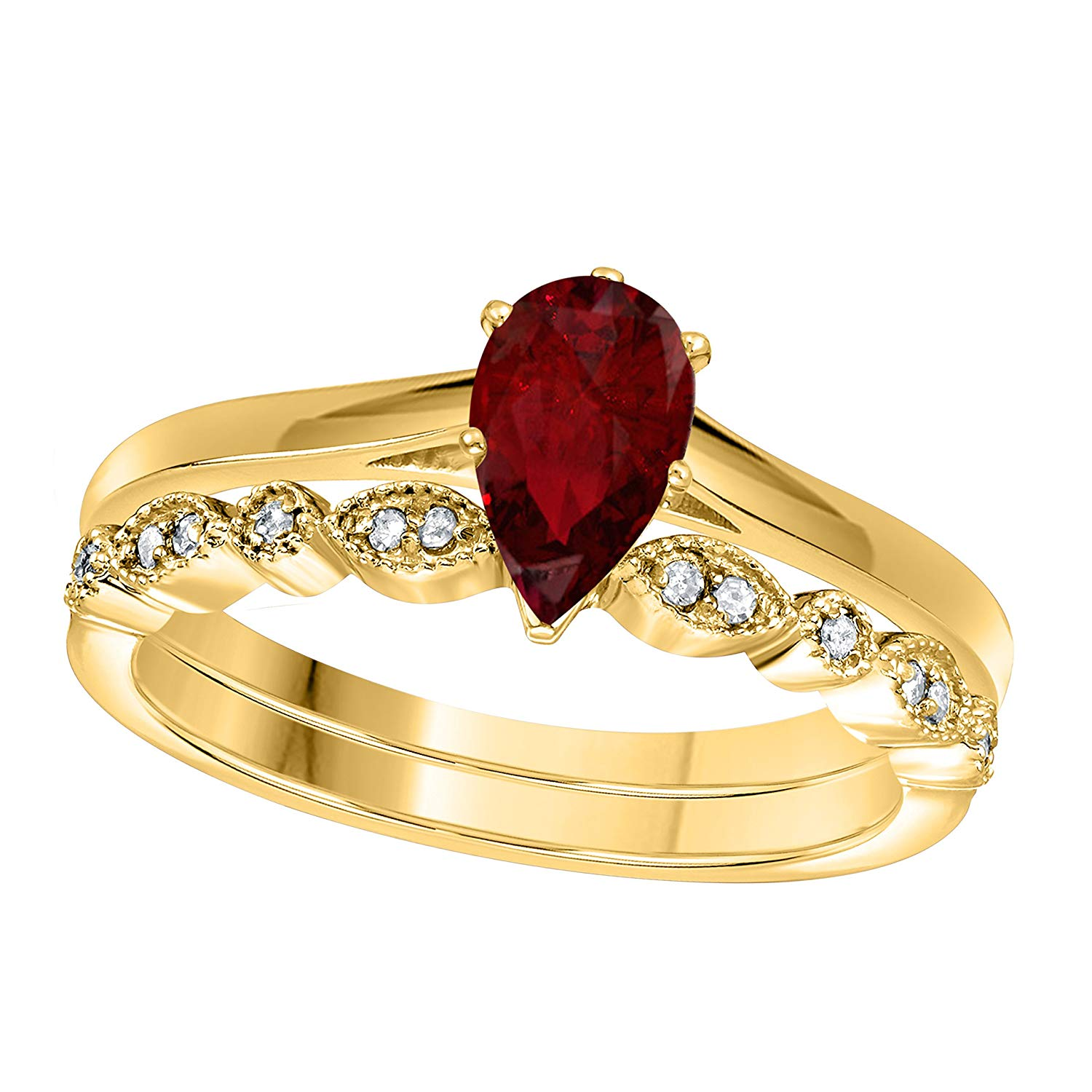 DreamJewels 1.00 Ct Pear Shape & Round Cut Red Ruby & White CZ Diamond 14k Yellow Gold Finish Alloy Art Deco Vintage Design Wedding Engagement Ring Sets Size 4.5-12