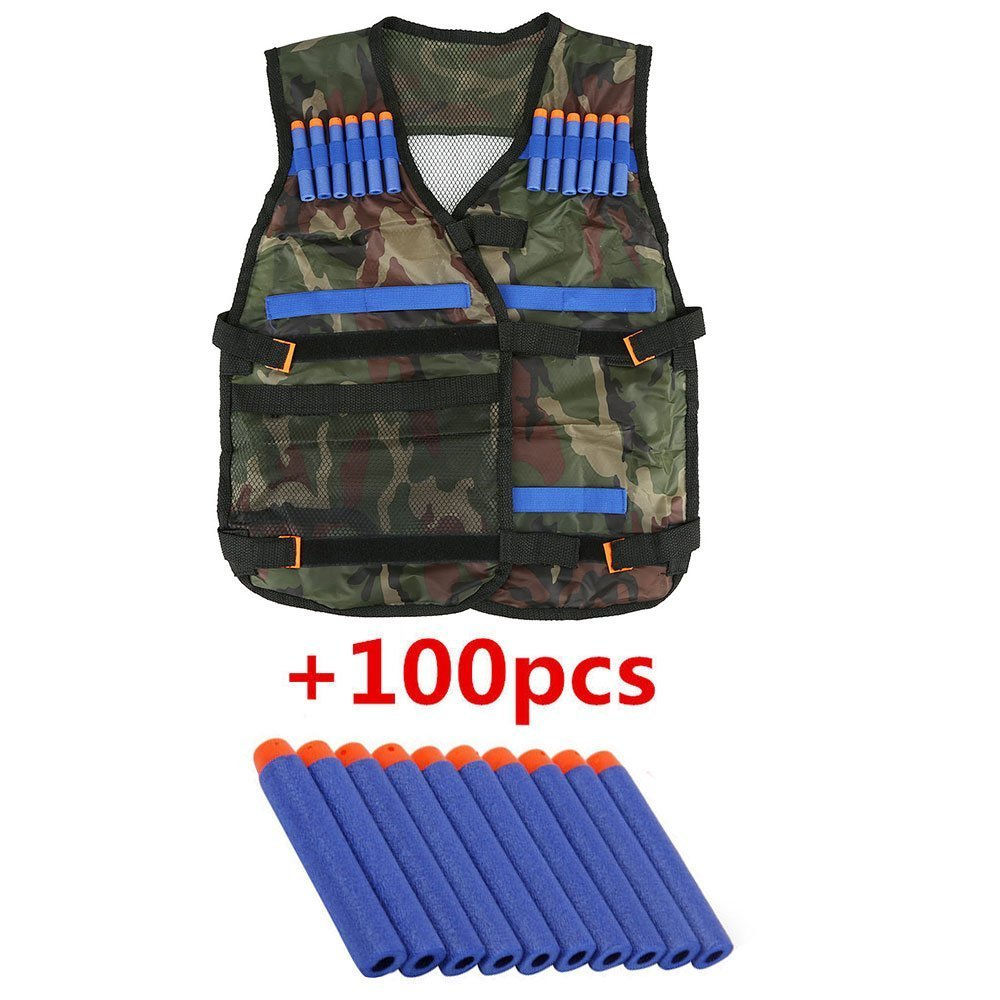 Hotusi Kids N-Strike Elite Camouflage Tactical Vest Kit Adjustable Elite Series with Storage Pockets with 100 Pcs Soft Foam Darts for Nerf Gun N-strike Elite Series