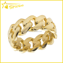 Wholesale Mens Yellow Gold finish hip hop cuban link ring