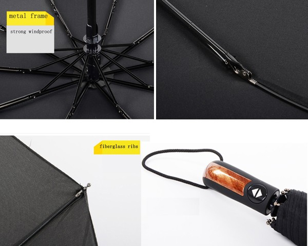 Auto open and close 3 fold travel three foldable black umbrella