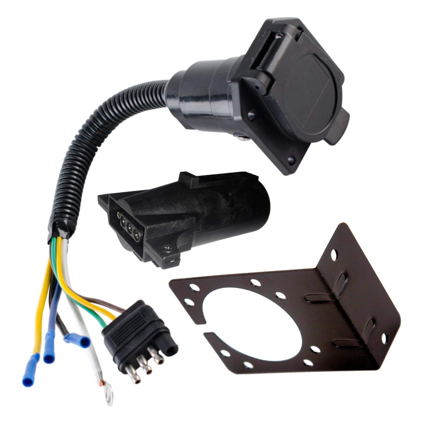 Get Quotations · 4 Wire Flat to 7 Way Adapter RV Trailer Wire Harness With  Bracket and Adapter