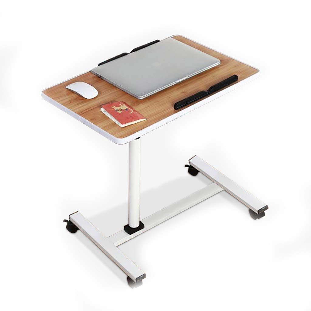 GAOYANG Laptop Table Bedside Table, Lazy Tray Bed Side Table, Portable Study Desk, Lifting and Moving, Living Room Sofa Coffee Table Side Multi-Functional Bracket, Walnut (Size: 60-90CM)