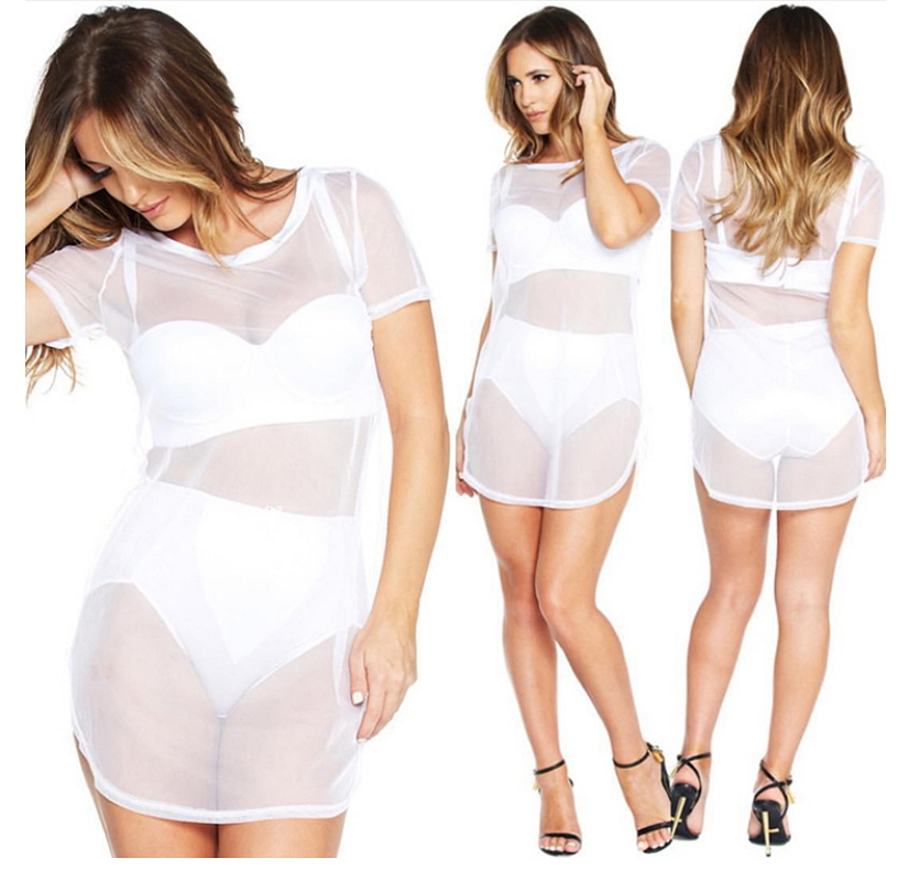 43f65a0f9d Get Quotations · 2015 Summer Style White Mesh Tshirt Dress Sexy Club Wear  Short Sleeve Loose Long Shirt Mini