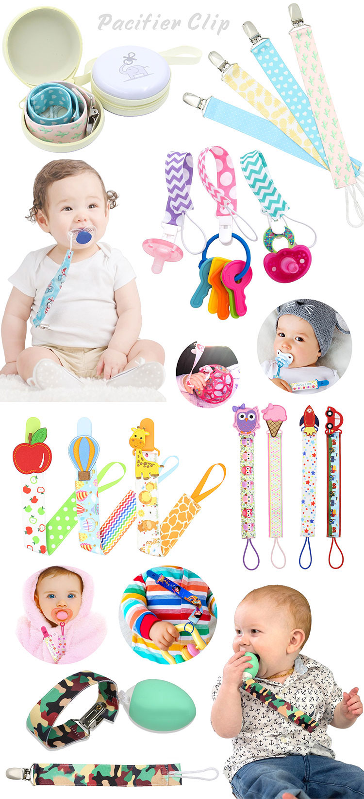 Wholesale Silicone Baby Natural Wood Personalized Pacifier Clip
