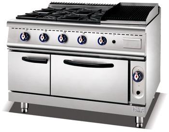 900 Gas Range 4 Burner Stove U0026 Lava Rock Grill U0026 Oven Cabinet