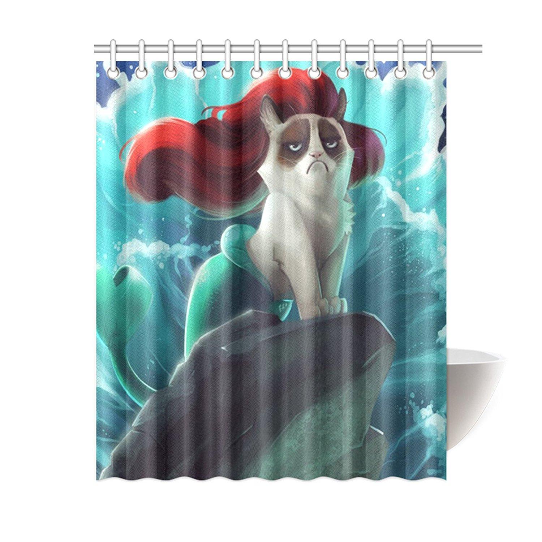 Buy Custom Grumpy Cat Of Little Mermaid Waterproof Polyester