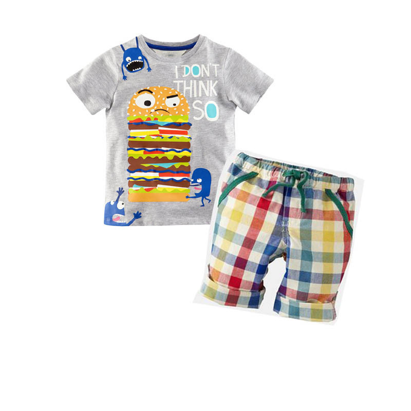 2016 Summer Boys Clothes New Baby Boy Clothing Set Pattern Burger Bot Toddler Boys T Shirts