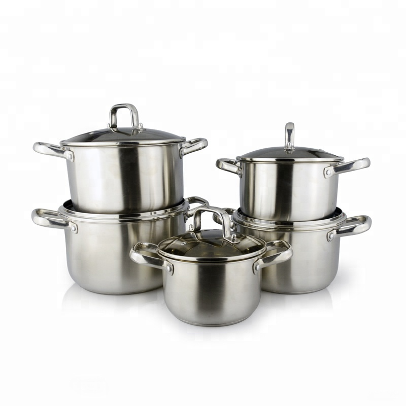 Kitchen queen pot casserole 10 pcs stainless steel cookware set with double bottom