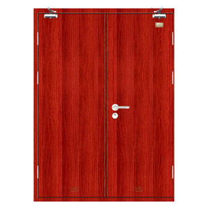 Entrance neat cool fire door Classic wood grain color Common fire rated swing doors