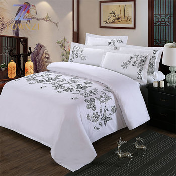 China Luxury Wholesale Hotel Home Linen Latest Embroidery 300TC 400TC Satin Silk Bed Sheet 100% Cotton Fabric Bedding Sets
