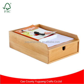 Office Study Varnished Wood A4 Paper Magazine File Storage Box With Drawer