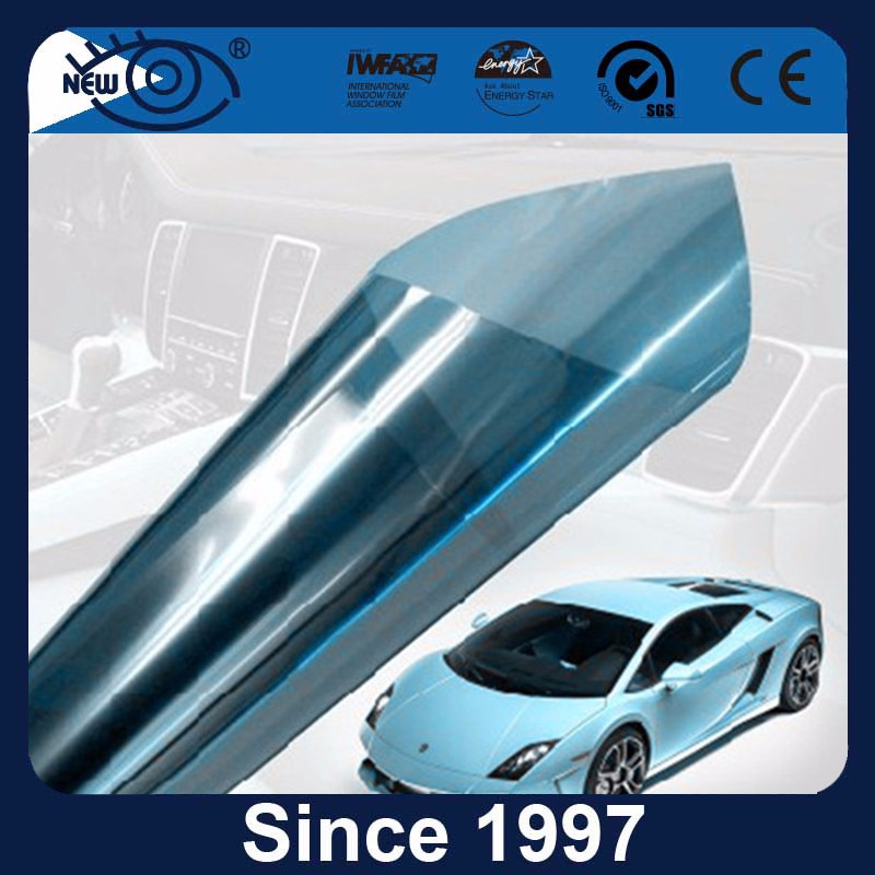 VLT60% IR100% nano ceramic chrom vinyl wrap blue mirror window tint