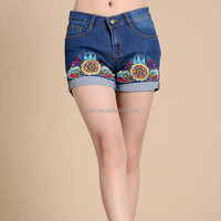 Custom Made 2016 woman lady Embroidery jeans Shorts from trade assurance supplier