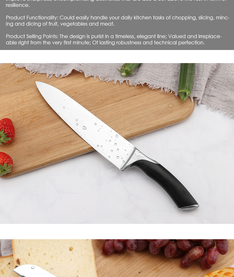 Amazon hot sale ABS handle 6pc kitchen knife set with wooden magnetic knife block