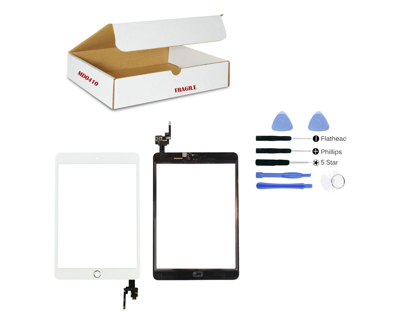 (md0410) WHITE Digitizer Glass Lens Touch Screen Full Complete Assembly with IC Chip Replacement Compatible Ipad Mini 3 A1599 A1600 (Camera Holder, Adhesive, Gold Ring Home Button Flex included) Tool