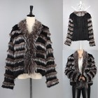 Custom Style Women Short Rabbit Fur And Silver Fox Fur Coat Girls Made In China