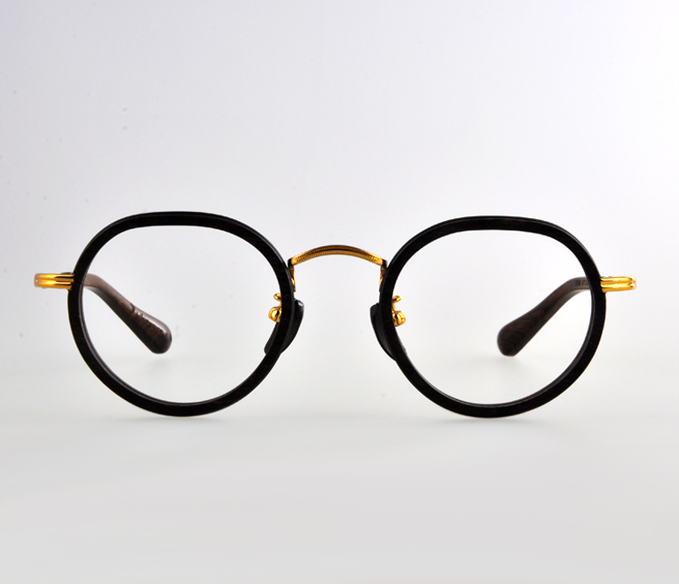 High quality handmade Round wooden eyewear,Gold metal plating takes wood optical frame,become you brand eyeglasses