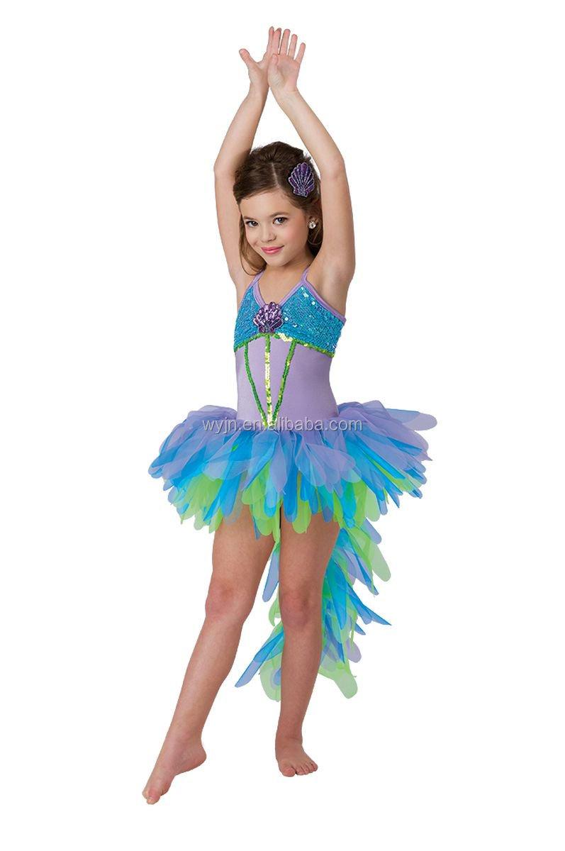 ロングテール衣装ブルー鳥ラテンパフォーマンスダンスシューズ衣装光沢のある着用子供のための