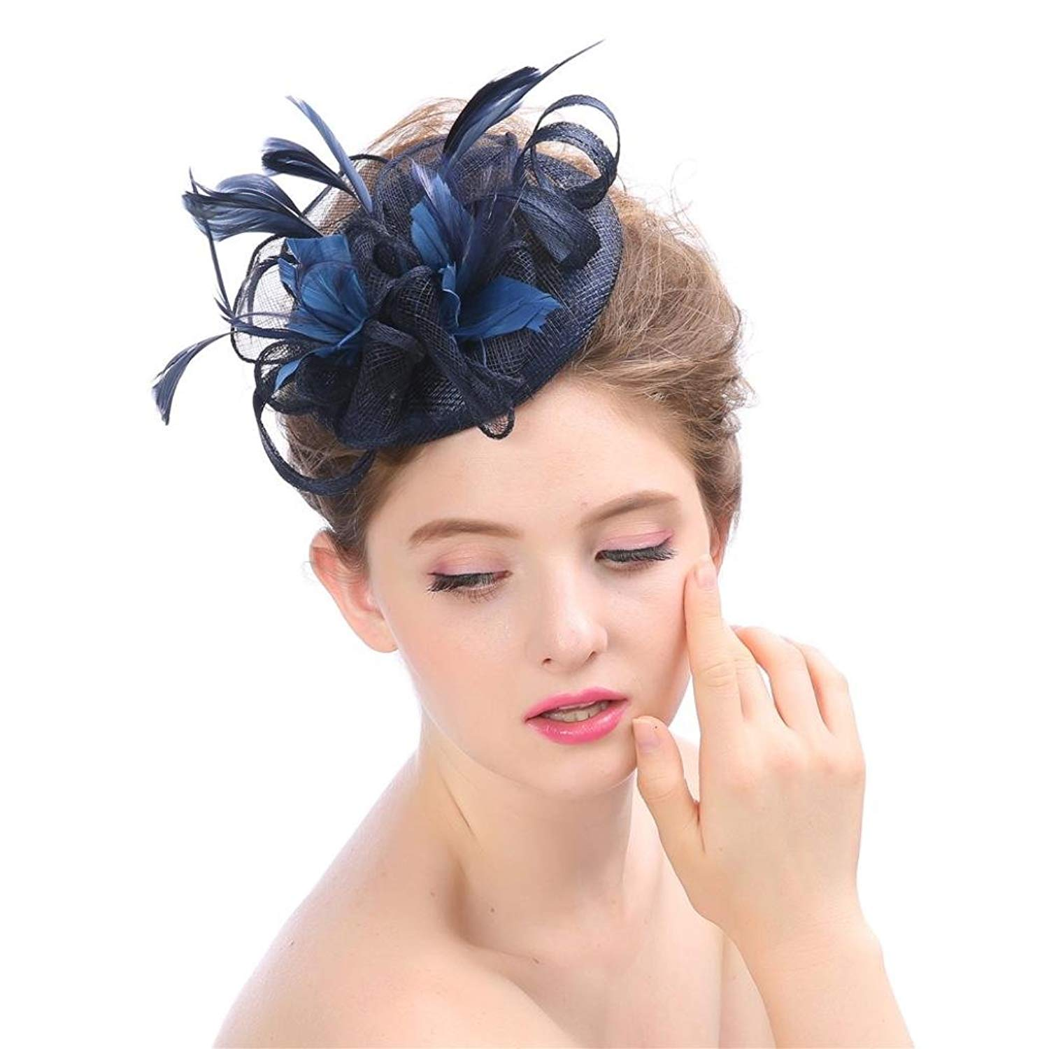 e924550cff4 Get Quotations · Vcenty Flower Feathers Fascinators Hat for Women Wedding  Cocktail Flower Mesh Hair Clip Tea Party Kentucky