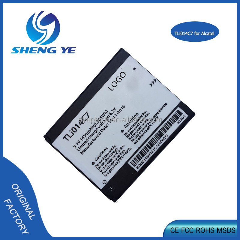 Wholesale Grade AAA quality phone battery TLi014C7 For Alcatel One Touch 1450mah