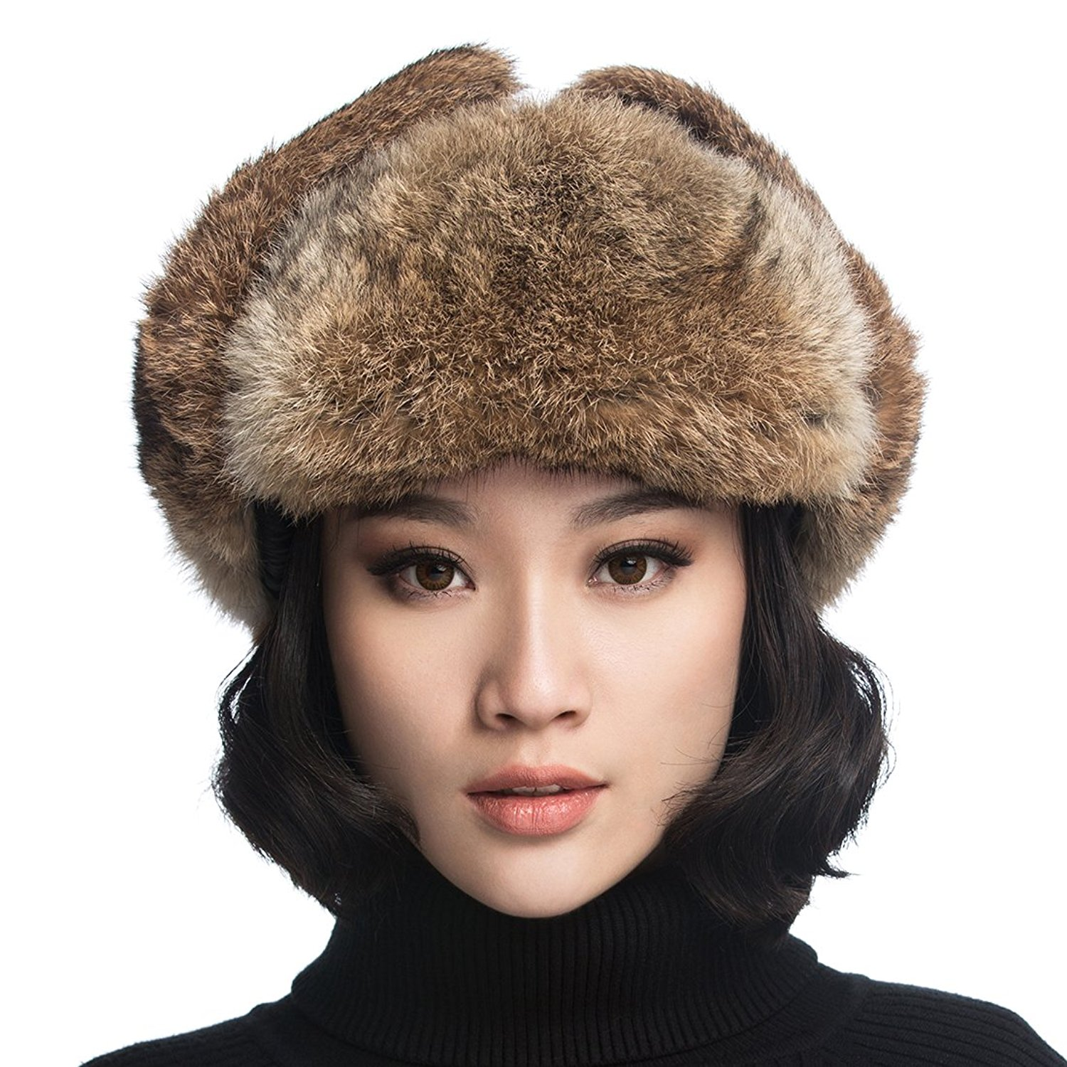20bd807131c Get Quotations · URSFUR Rabbit Fur Aviator Hat Women Black Leather Winter  Bomber Cap Russian