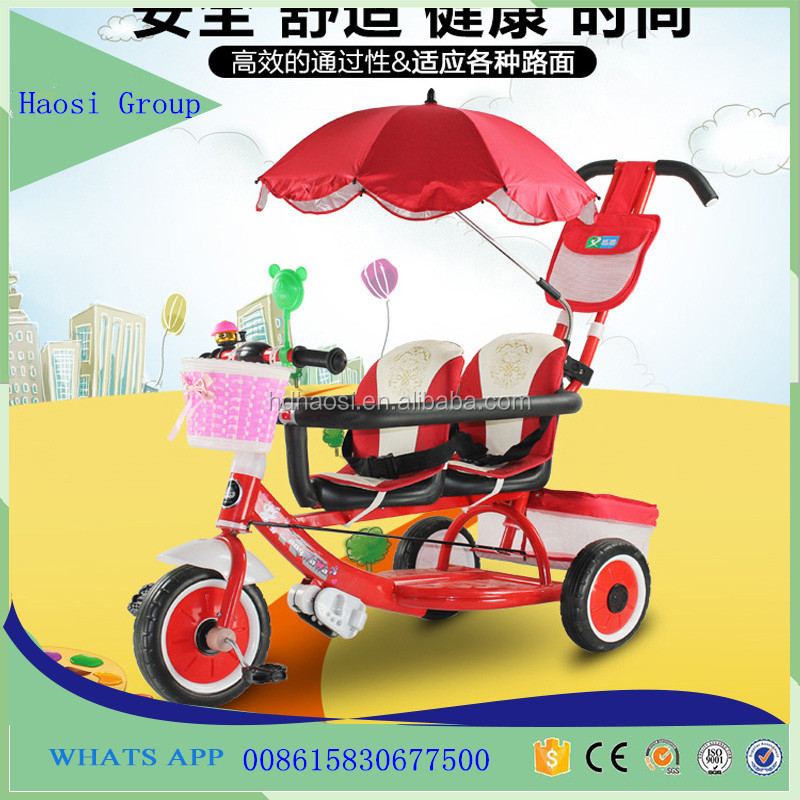 Hebei Manufacturer double seat children tricycle /two seats kids tricycle with back seat