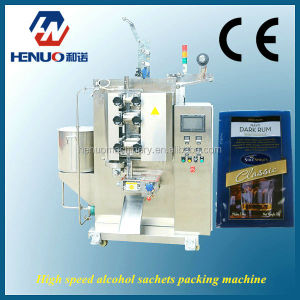 Speedy packaging machine for rum alcohol sachet with 4 side sealing