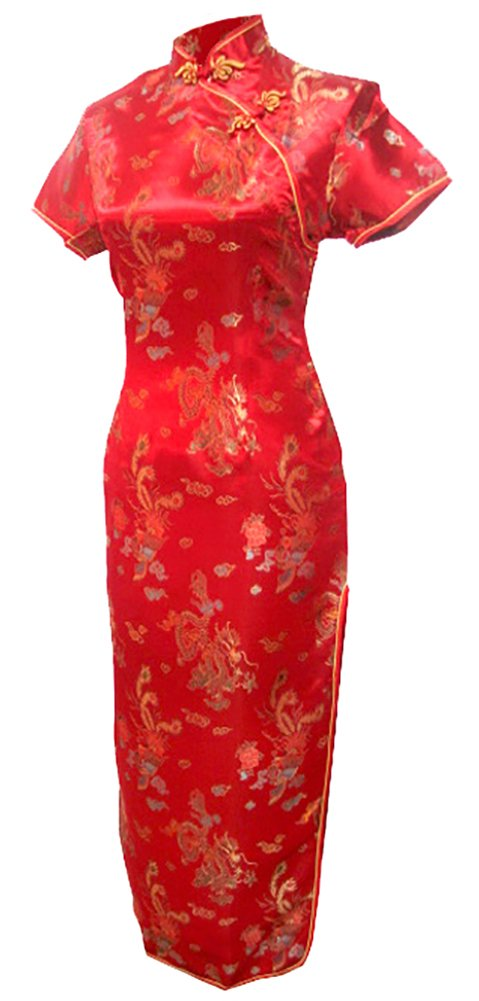 7Fairy Women's Vtg Red Long Chinese Wedding Evening Dress Cheongsam