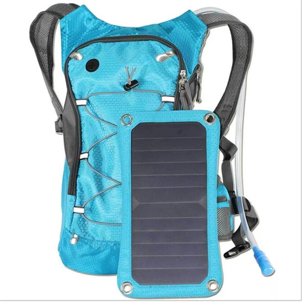 Solar Charger Hydration Backpack (2L Bladder Bag), Ergonomic Pack Backpack (7W), With Hydration tube and Removable Solar Panel Charging for iPhone 6 plus 5s 5c 5 4s 4, ipad mini, Samsung Galaxy S5 S4 S3, Blackberry and Other USB Compatible Devices