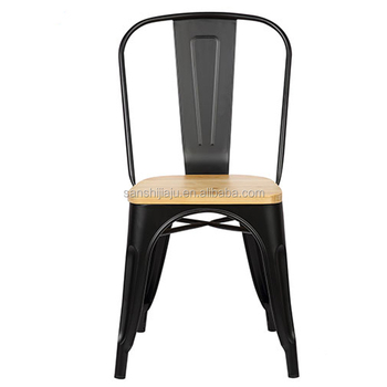 Industrial Cafe Furniture Vintage Metal Chair With Wood Seat
