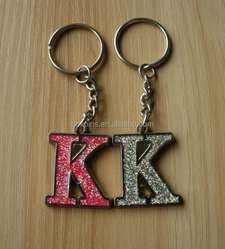 Custom Pink white Letter K Keychain key Ring With Glitter Rhinestone ... 0e1da4c8b