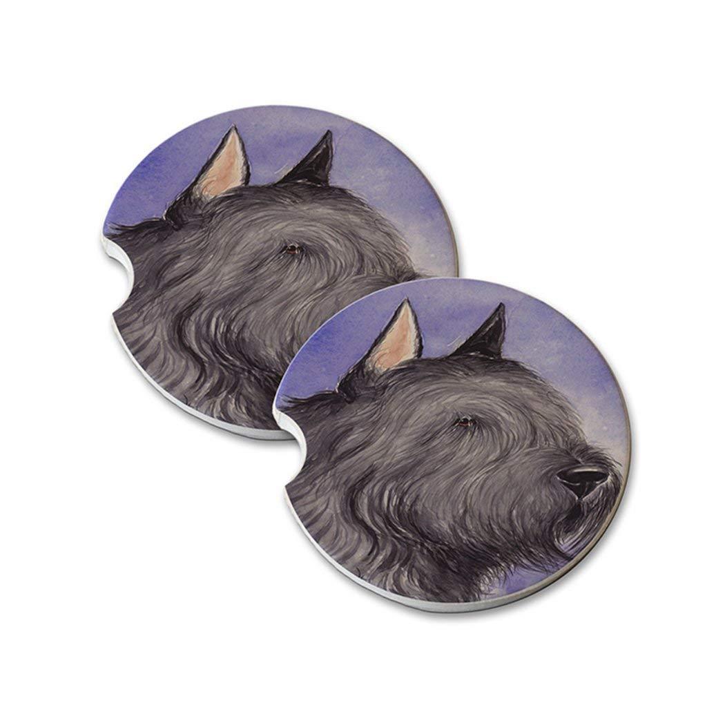 Natural Sandstone Car Drink Coasters (set of 2) - Bouvier de Flanders Dog Art by Denise Every