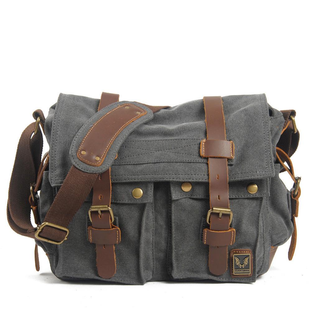 0ef86d0c971b Get Quotations · Men messenger bags military vintage canvas genuine leather  cross body bags 14    laptop ...