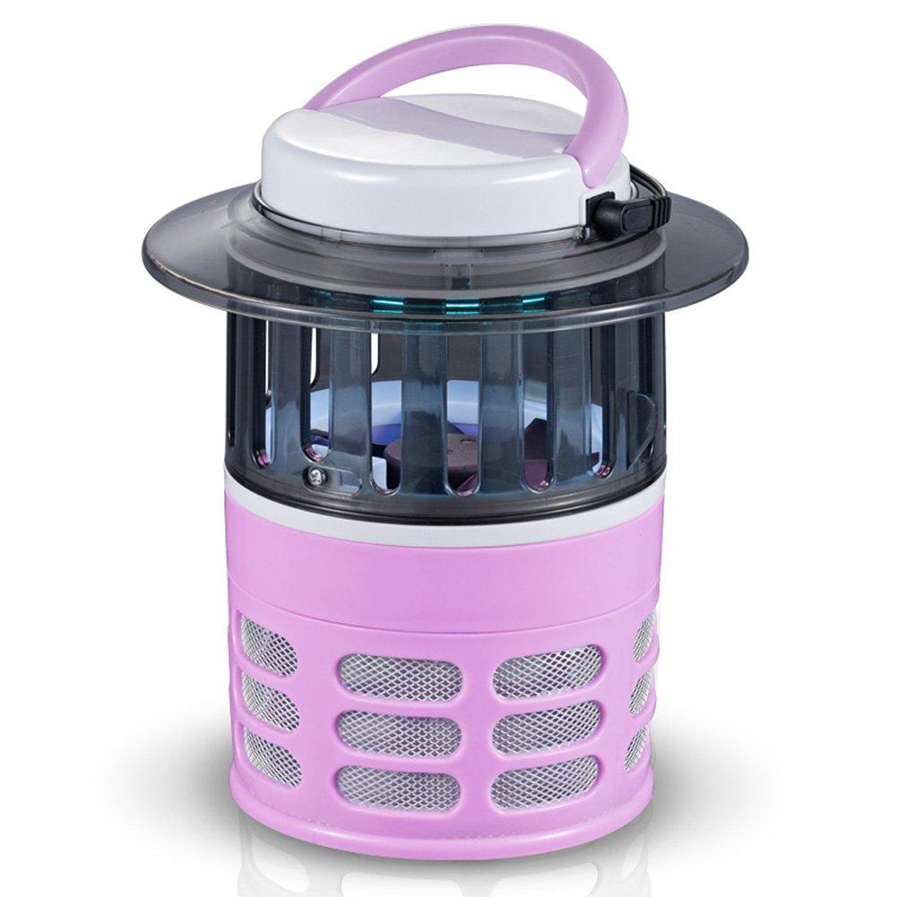 LIQICAI Mosquito Killer Lamp Portable UV Fly Trap Easy Swing Carry Handle Socket 110V~220V Silent Energy Saving, Φ166x190mm (Color : Pink)