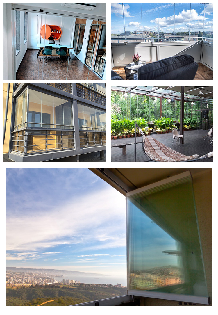 fashionable slide and turn frameless glazing system for balcony folding window
