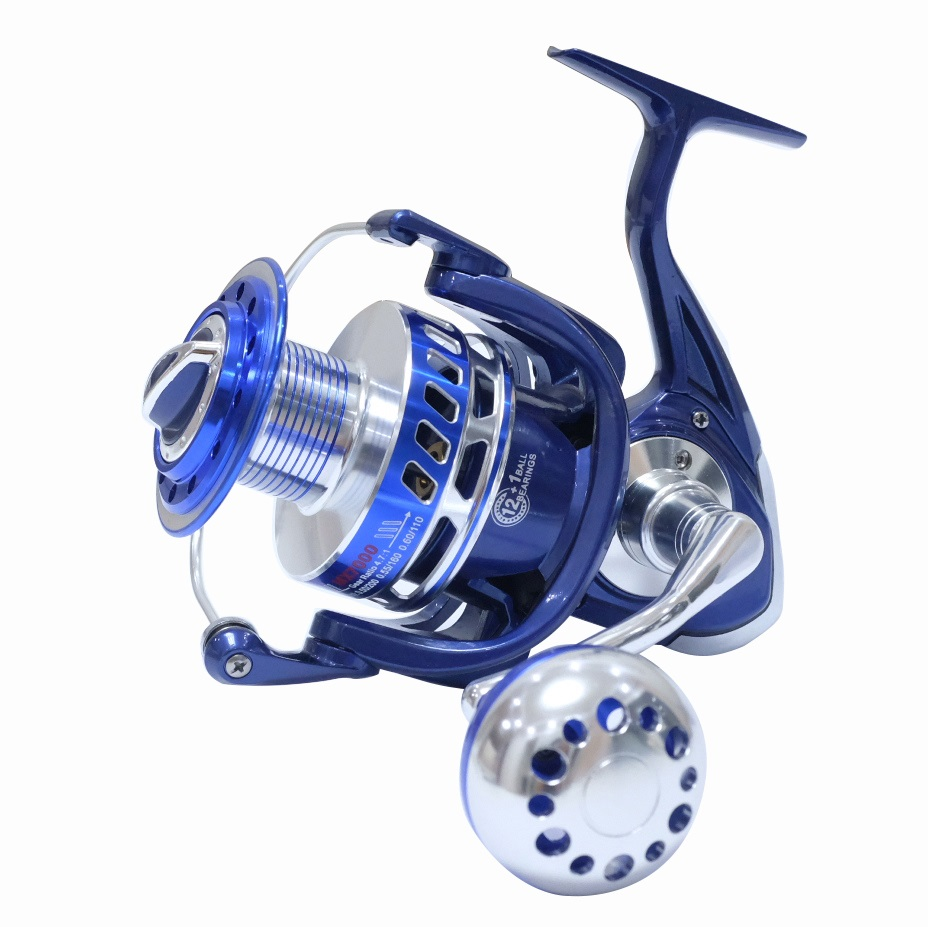 30KG Power Drag Saltiga Spinning Reels Heavy Duty Sea Fishing Boat Fishing Jigging Fishing Reel 4000 5000 6000 7000 8000 9000, Blue