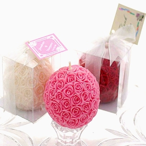 Wedding Favor Rose Ball Candle in Gift Box