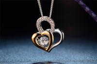 JP0580- 18k gold diamond necklace fashion dancing stone pendant jewelry heart necklace