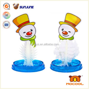 DIY kids toy, snowman educational child toy, magic crystal growing paper for christmas desk decoration