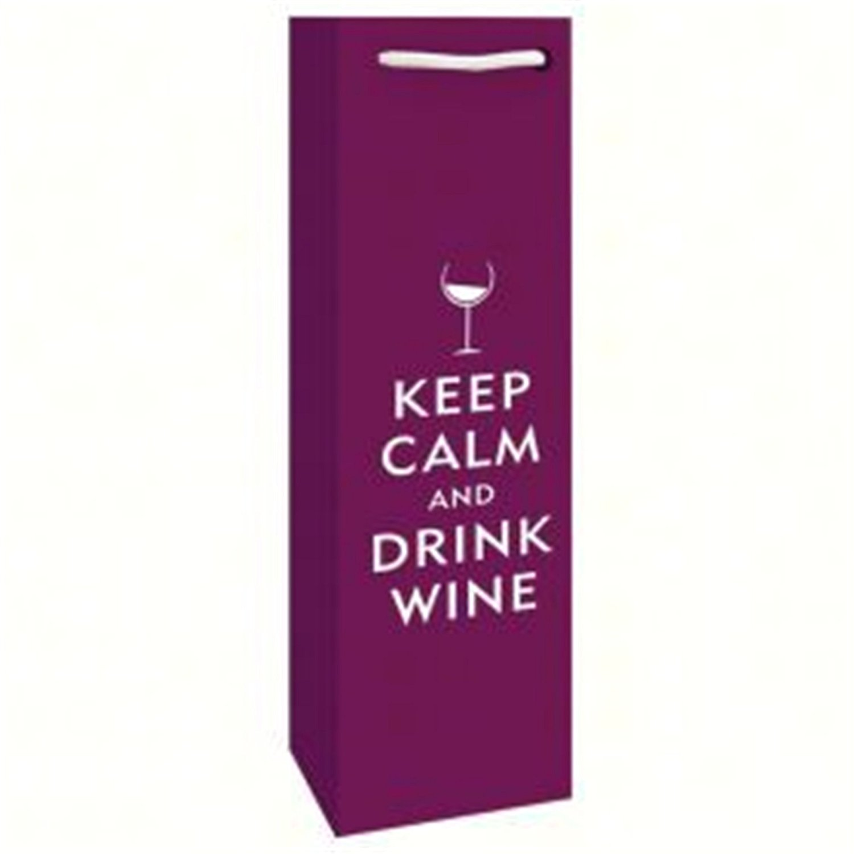Bella Vita BVP1DRINKWINE Printed Paper Single Wine Bag - Drink Wine