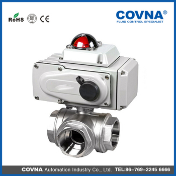 Stainless Steel 3 Way Electric Actuator Ball Valve Electric 3 Way ...