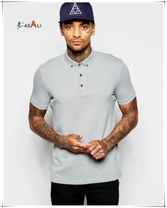 Custom logo t shirt pique polo t shirt with button down collar