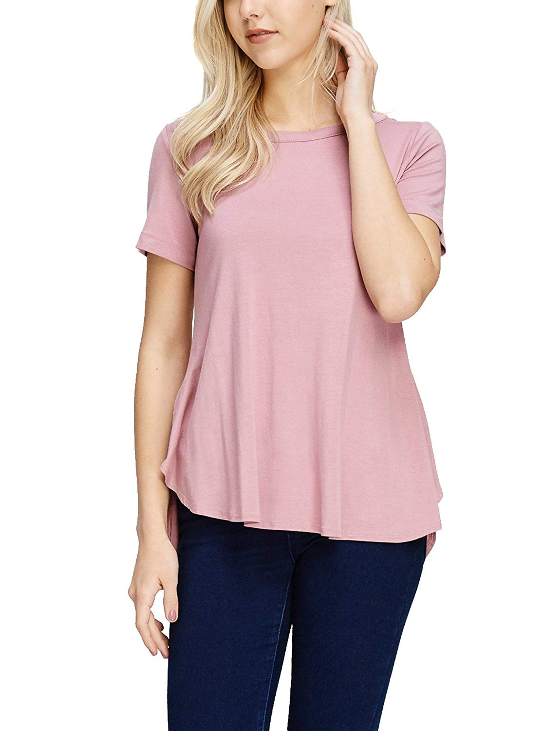 TAM WARE Womens Stylish Short Sleeve French Terry Tunic Top (Made in USA)