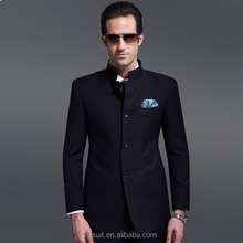 2015 Men's new style Stand collar suit 100% wool navy blue four buttons Chinese suit
