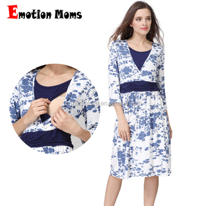 28a3b68365486 Emotion Moms Wholesale 3/4 sleeves Jersey Cotton Floral Maternity Wear  Nursing Clothes Breastfeeding Dress