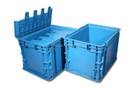 Solid hinged plastic containers with lid